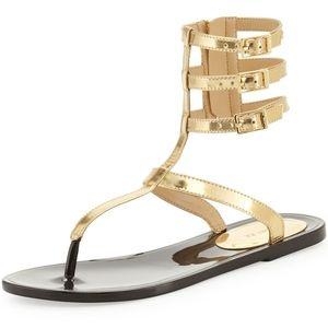 Rachel Zoe Cecille Gold Zip Gladiator Sandals 8M